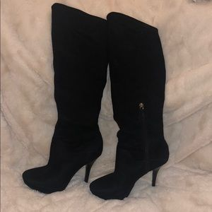 Black faux suede  to the knee heeled boots